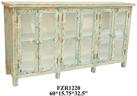 Bayden Hill CVFZR1220 Dawson Creek Weathered Oak And Cyan 6 Door Sideboard 60 X 15.75 X 32.5 - Peazz.com