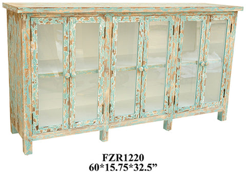 Crestview Collection CVFZR1220 Dawson Creek Weathered Oak And Cyan 6 Door Sideboard 60 X 15.75 X 32.5 - Peazz Furniture