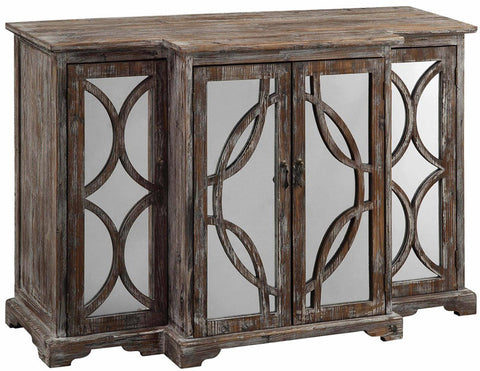 Crestview Collection CVFZR1236 Galloway 4 Door Rustic Wood And Mirror Sideboard 52 X 17 X 33.75 - Peazz Furniture