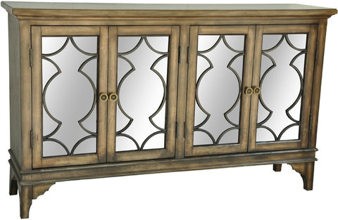 Crestview Collection CVFZR1427 Wyndham 4 Door Wood & Veneer Sideboard 60 X 14.5 X 36H - Peazz Furniture
