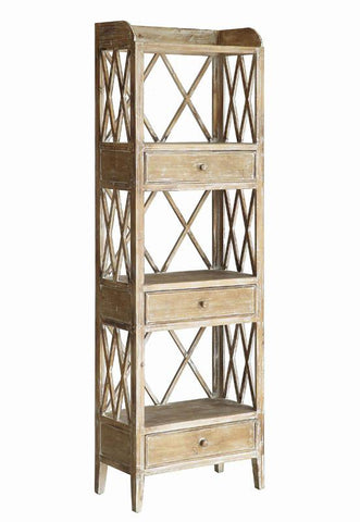 Bayden Hill CVFZR1712 Carlisle Rustic Wood 3 Drawer Tall X Storage Shelf 22 X 11 X 68.3 - Peazz.com