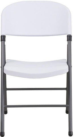 Flash Furniture DAD-YCD-50-WH-GG HERCULES Series 330 lb. Capacity White Plastic Folding Chair with Charcoal Frame - Peazz Furniture - 4