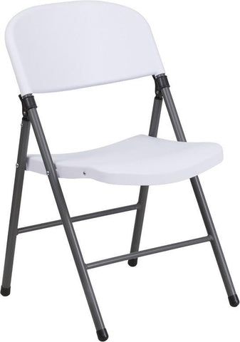 Flash Furniture DAD-YCD-50-WH-GG HERCULES Series 330 lb. Capacity White Plastic Folding Chair with Charcoal Frame - Peazz Furniture - 1