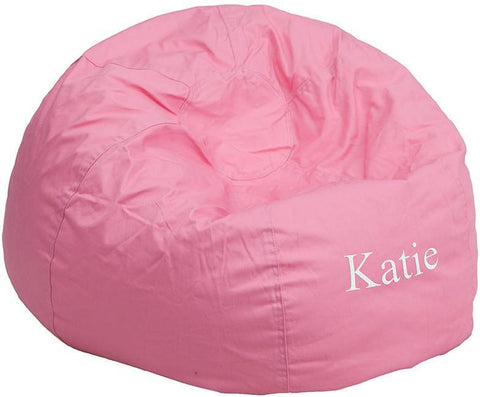Flash Furniture DG-BEAN-LARGE-SOLID-PK-EMB-GG Personalized Oversized Solid Light Pink Bean Bag Chair - Peazz Furniture