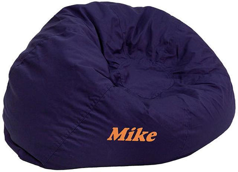 Flash Furniture DG-BEAN-SMALL-SOLID-BL-EMB-GG Personalized Small Solid Navy Blue Kids Bean Bag Chair - Peazz Furniture