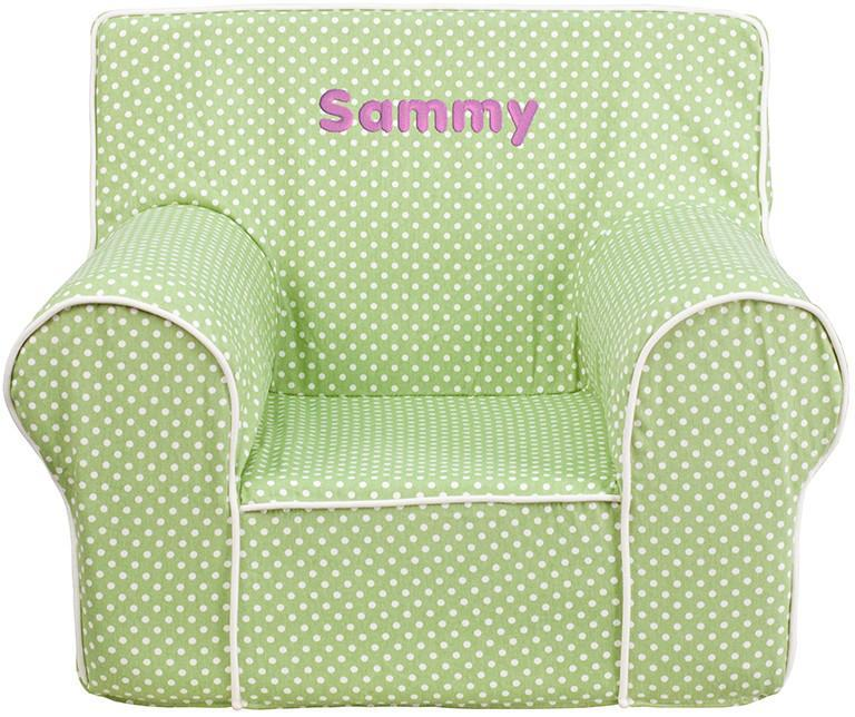 FLASH Furniture Dg-ch-kid-dot-grn-emb-gg Personalized Sma...