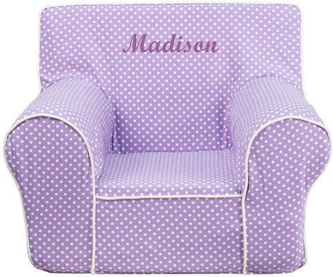 Flash Furniture DG-CH-KID-DOT-PUR-EMB-GG Personalized Small Lavender Dot Kids Chair with White Piping - Peazz Furniture
