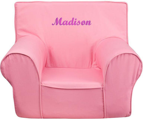 Flash Furniture DG-CH-KID-SOLID-PK-EMB-GG Personalized Small Solid Light Pink Kids Chair - Peazz Furniture