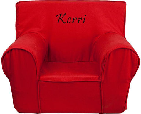 Flash Furniture DG-CH-KID-SOLID-RED-EMB-GG Personalized Small Solid Red Kids Chair - Peazz Furniture