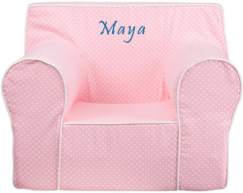 Flash Furniture DG-LGE-CH-KID-DOT-PK-EMB-GG Personalized Oversized Light Pink Dot Kids Chair with White Piping - Peazz Furniture