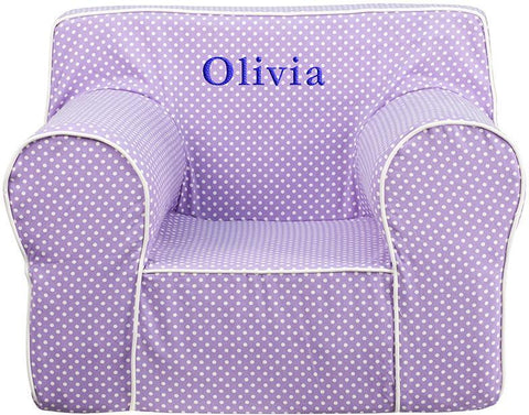 Flash Furniture DG-LGE-CH-KID-DOT-PUR-EMB-GG Personalized Oversized Lavender Dot Kids Chair with White Piping - Peazz Furniture