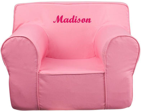 Flash Furniture DG-LGE-CH-KID-SOLID-PK-EMB-GG Personalized Oversized Solid Light Pink Kids Chair - Peazz Furniture