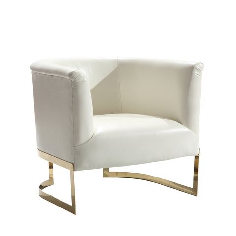 Armen Living LC560CHWH Elite Contemporary Accent Chair In White and Gold Finish