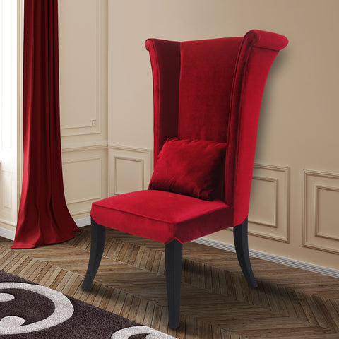 Armen Living LC847SIRE Mad Hatter Dining Chair In Red Rich Velvet