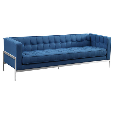 Armen Living LCAN3BLUE Andre Contemporary Sofa in Brushed Stainless Steel and Blue Fabric