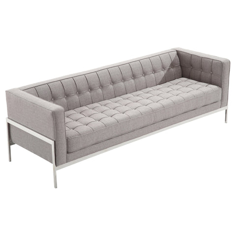 Armen Living LCAN3GR Andre Contemporary Sofa In Gray Tweed and Stainless Steel
