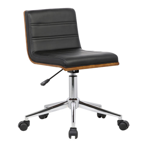 Armen Living LCBOOFCHBLACK Bowie Mid-Century Office Chair in Chrome finish with Black Faux Leather and Walnut Veneer Back