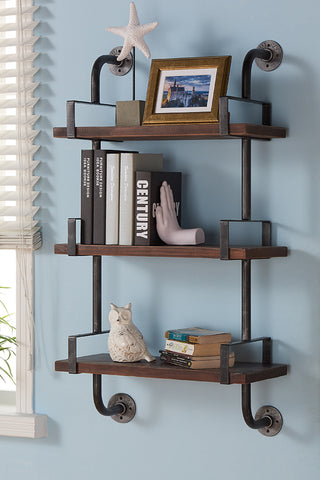 "Armen Living LCBOSH40 40"" Booker Industrial Pine Wood Floating Wall Shelf in Gray and Walnut Finish"