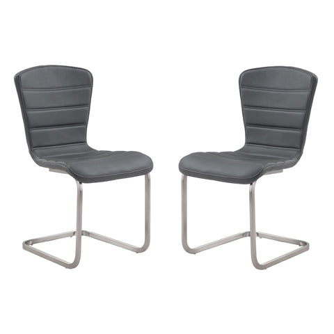 Armen Living LCCASIGR Cameo Modern Side Chair In Gray and Stainless Steel - Set of 2