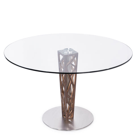 "Armen Living LCCRDITOGR Crystal 48"" Round Dining Table in Walnut Veneer column and Brushed Stainless Steel finish with Clear Tempered Glass Top"