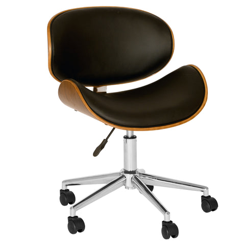 Armen Living LCDAOFCHBL Daphne Modern Office Chair In Chrome Finish with Black Faux Leather And Walnut Veneer Back