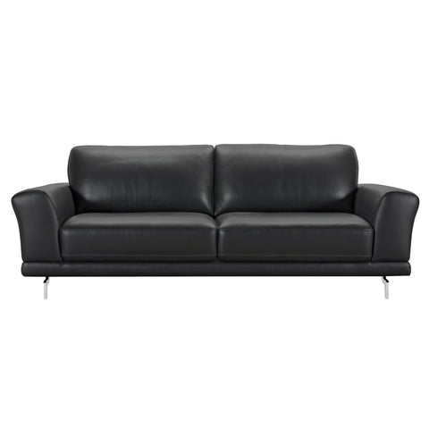 Armen Living LCEV3BL Everly Contemporary Sofa in Genuine Black Leather with Brushed Stainless Steel Legs