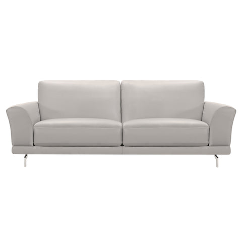 Armen Living LCEV3GR Everly Contemporary Sofa in Genuine Dove Grey Leather with Brushed Stainless Steel Legs