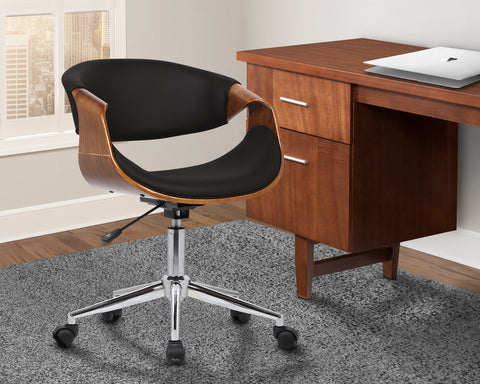 Armen Living LCGEOFCHBLACK Geneva Mid-Century Office Chair in Chrome finish with Black Faux Leather and Walnut Veneer Arms