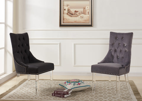 Armen Living LCGOCHBL Gobi Modern and Contemporary Tufted Dining Chair in Black Velvet with Acrylic Legs