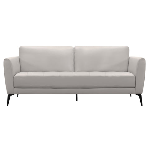 Armen Living LCHP3GR Hope Contemporary Sofa in Genuine Dove Grey Leather with Black Metal Legs
