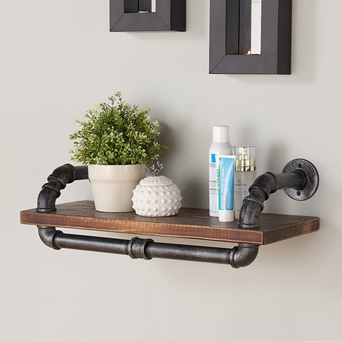 "Armen Living LCISSH24 24"" Isadore Industrial Pine Wood Floating Wall Shelf in Gray and Walnut Finish"