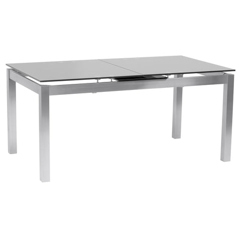 Armen Living LCIVDIGG Ivan Extension Dining Table in Brushed Stainless Steel and Gray Tempered Glass Top