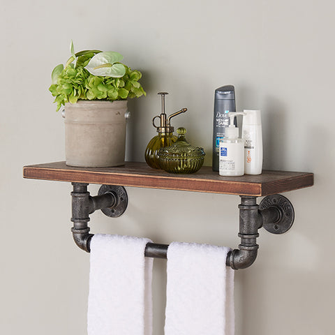 "Armen Living LCJASH24 24"" Jarrett Industrial Pine Wood Floating Wall Shelf in Gray and Walnut Finish"
