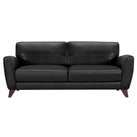 Armen Living LCJD3BL Jedd Contemporary Sofa in Genuine Black Leather with Brown Wood Legs