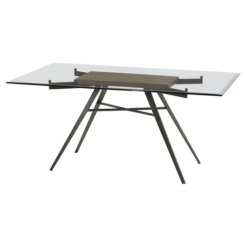 Armen Living LCLEDIMFGWBS Leah Contemporary Rectangular Dining Table in Mineral Finish with Clear Glass Top and Grey Walnut Wood Insert