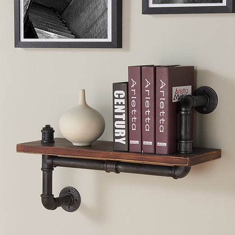 "Armen Living LCMOSH24 24"" Montana Industrial Pine Wood Floating Wall Shelf in Gray and Walnut Finish"