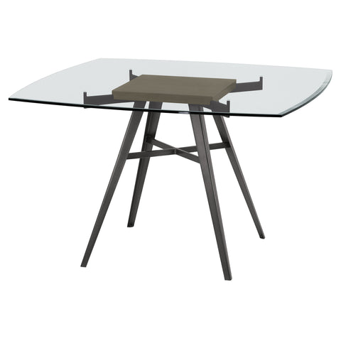 Armen Living LCOJDIMFGWBS Ojai Contemporary Dining Table in Mineral Finish with Clear Glass Top and Grey Walnut Wood Insert