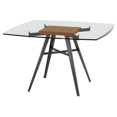 Armen Living LCOJDIMFWABS Ojai Contemporary Dining Table in Mineral Finish with Clear Glass Top and Walnut Wood Insert