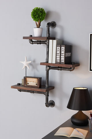 "Armen Living LCORSH30 30"" Orton Industrial Pine Wood Floating Wall Shelf in Gray and Walnut Finish"