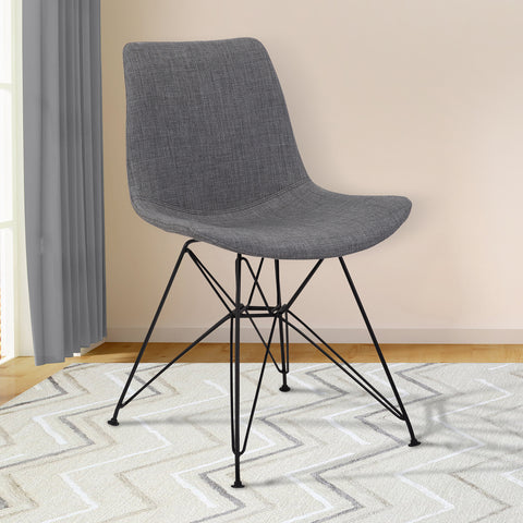 Armen Living LCPLCHBLCH Palmetto Contemporary Dining Chair in Charcoal Fabric with Black Metal Legs
