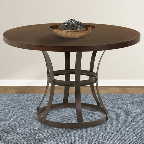 Armen Living LCSADITOSE Saugus Contemporary Dining Table in Auburn Bay Finish with Sedona Wood Top