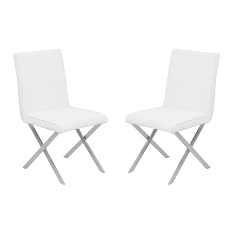 Armen Living LCTESIWHBS Tempe Contemporary Dining Chair in White Faux Leather with Brushed Stainless Steel Finish - Set of 2