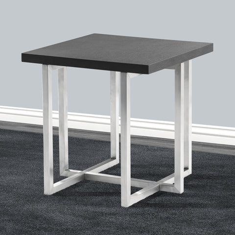 Armen Living LCTPLAGRBS Topaz Contemporary End Table in Brushed Stainless Steel Finish with Grey Veneer Wood Top