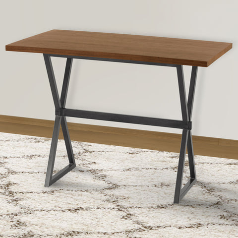 Armen Living LCVLBTTOWA Valencia Contemporary Rectangular Bar Table in Mineral Finish with Walnut Wood Top