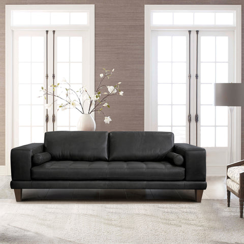 Armen Living LCWY3BLACK Wynne Contemporary Sofa in Genuine Black Leather with Brown Wood Legs