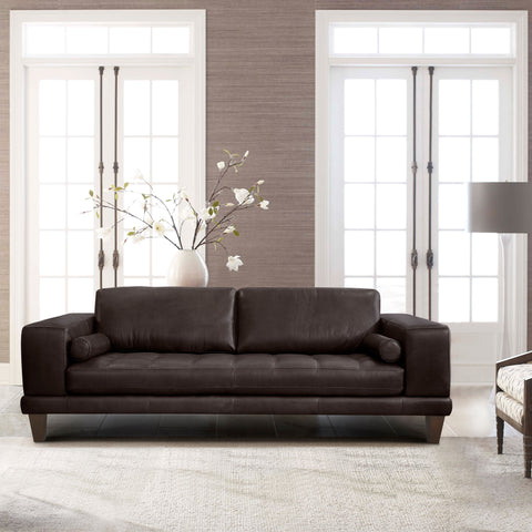 Armen Living LCWY3BROWN Wynne Contemporary Sofa in Genuine Espresso Leather with Brown Wood Legs