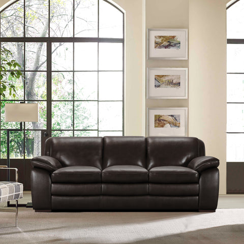 Armen Living LCZA3BR Zanna Contemporary Sofa in Genuine Dark Brown Leather with Brown Wood Legs