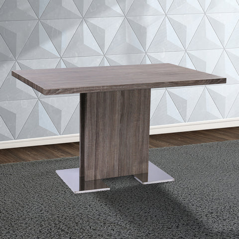 Armen Living LCZEDIGRTO Zenith Contemporary Dining Table with Brushed Stainless Steel Base and Gray Walnut Veneer Finish