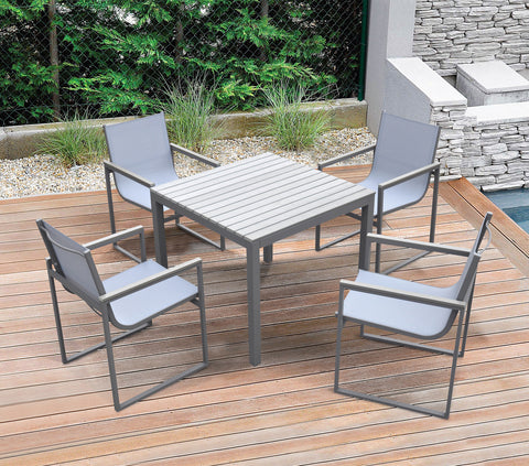Armen Living SETODBI Bistro Dining Set Grey Powder Coated Finish (Table with 4 chairs)