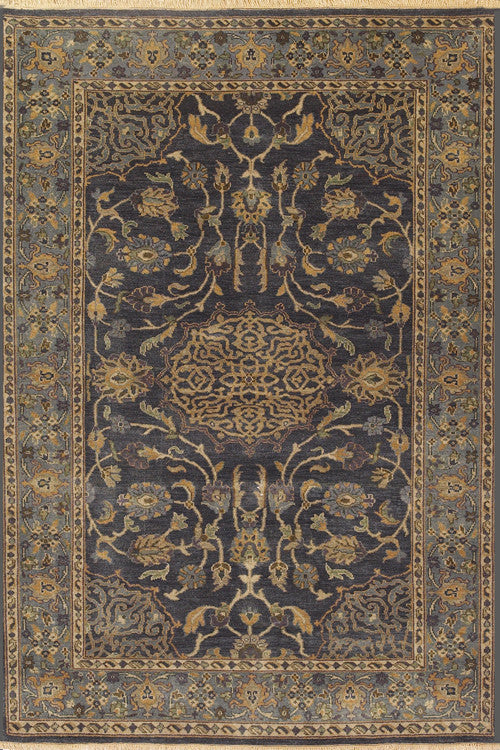 Indian Hand Knotted Shalimar Collection Blue Rugs - Momeni Collection Image